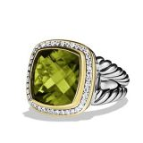 925 Sterling Silver Inspired DY 14mm Olive Quartz Albion Ring