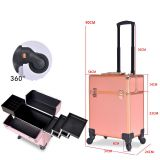 Rolling Makeup Case Trolley Train Case on wheels Lockable Artist Makeup Cosmetics Trolley Case Veninow