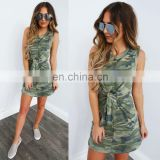 Hot Sale Sleeveless Tight Dress Mini Bandage Sexy Camo Bodycon Dresses Summer Camouflage Casual Dresses Women