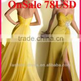 On Sale 78USD Strapless Sweetheart Beaded Chiffon Front Slit Long Cheap Yellow Prom Dress Under 100