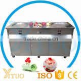 Double Flat Pan Fried Ice Cream Machine, Thailand Roll Ice Cream Maker, China Two Secop Compressor Fried Ice Cream Machine