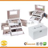 White Leather Jewelry Box with Travel Case and Lock Storage Case Organizer