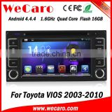 6.2 inch Android 4.4.4 HD 1024*600 touch screen car gps navigation fortoyota vios 2 din car dvd player With WIFI 3G internet