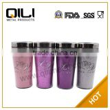 450ml BPA free stainless steel plastic thermos travel mug with glitter leather insert,Fashion auto mug
