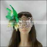 2014 fashion cheap green chicken feather flower masquerade party mask