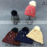 Fashion Newest Rolled Brim Pearl Fixed Boys Girls Winter Knitted Fur Bobble Hats
