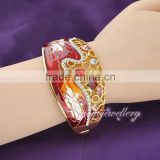 korea luxury jewelry cuff bracelet enamel gold plated buckle wholesale bollywood cz bangles