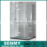 China manufacture 304 stainless steel hinge 3 panel glass shower tray frameless L shaped shower bath
