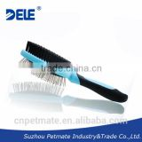 Double-sided dual function rubber cushion dog pin hair grooming brush and bristle side pet brush for master clothes cleaning