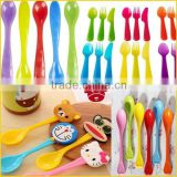 Newborn Baby Products Disposable Plastic Spoon and Fork Temperature Changing Plastic Ice Cream Spoon Colorful Plastic Spoon