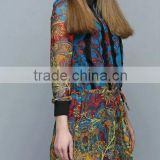 Fashion Designer dress Beautiful Long Sleeve Silk print Dress (stock)