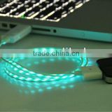 EL flowing light visible USB charge and sync cable for iphone 4 and micro mini USB