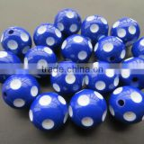 20mm Gumball Bubble Fashion Wholesales Royal Blue Polka Dot Beads for chunky bead necklace for little girl