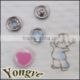 Fashion heart type metal logo snap on buttons for Baby Velcro suits                                                                         Quality Choice