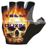 hot new products for 2015 cycling gloves/pro bike glove men half finger pro team Fire on Skull