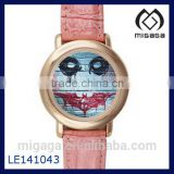 Batman Wristwatch Lady's Watches with Pink Leather Band-a Good Gift for Halloween