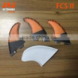 orange half carbon FCS II G5 M fins with fiberglass and bamboo material for surfing 002 size M