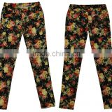 New adults women strech floral printing skinny pants ladies soft strech long pants manufacturer