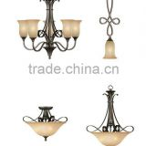 2015 Antique black metal frosted glass shade chandelier lamp