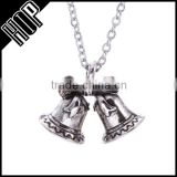 necklace 2016 fashion zinc alloy antique silver Christmas bell pendant