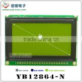 Parallel graphic lcd 128x64, STN positive graphical lcd display,5v,yellow-green led backlight.