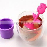 Creative Living Product, food grade pot-flower silicone tea ball strainer for promotion