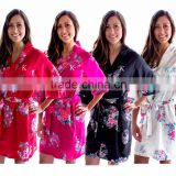 Wholesale Bridesmaid Floral Satin Kimono Bath Robes 5 colors available