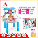 Plastic pretend play baby toy doctor kit with doll