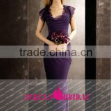 MW125 New Arrival Cap Sleeves Ruffle Purple Eggplant 2013 Chiffon Light Bridesmaid Dresses