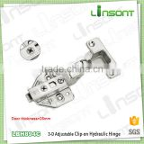High quality 3-D adjustable hydraulic clip on ball bearing hinge hardware concealed hinge for thick door