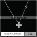 Fashion 925 sterling silver cross zircon necklace with wholesale price