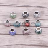 6.0mm Hole 12*10mm European Sliver Plated Full Crystal Charm Big Hole Beads Fit Bracelet Charms For Women