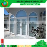 Outdoor PVC Profile Window Wood Exterior Window Round Window Style Glass Reception Window