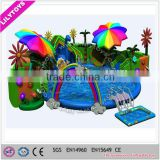 2016 newest attractive rainbow design inflatable water park/ water park with slide n pool for amusement