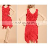 Fashion Show Flower Tassel Vest Latin Dance Wear Dress for Lady