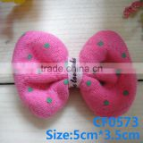 CF0573 Fashion boutique polka dot pink fabric pretty hair bow for baby