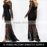 Black ladies long evening party wear gown long sleeve maxi lace dress for women 2016