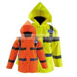 High Visibility Raincoat with Hood, Lime Green