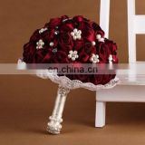 Cheery Red artificial wedding flowers bouquet with Bead decoration