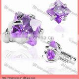 2mm Purple Prong Set Square Gem Body Jewelry Micro Dermal Anchor Top