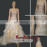 EB718 Exotic Crystal bodice delicate beading Wedding dress two pieces fluffy bridesmaid dress