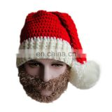 Christmas Clothing Santa Claus Men Women Adult Red Knitted Hat Beard Beanie Mustache - Brown Beard