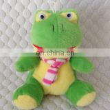 Plush green frog stuffed promotional toy