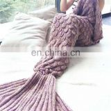 New Arrival Spring Winter Mermaid Tail Sofa Blanket Super Soft Warm Handmade Crocheted Blanket Knitting Wool For Adult