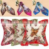 Women Soft Silk Square Scarves Women Flower Painted Square Soft Scarf Imitated Silk Satin Head Neck Shawl 90 cm