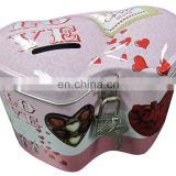 New style double-heart tin coin can with lock