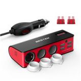 BESTEK 3-Socket Cigarette Lighter Power Adapter With 4-Port Car USB Splitter Charger