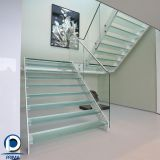 Staircase design double stringers stairs glass tread stair metal staircase glass railing