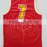 sublimation best customized latest desidn blank men's basketball singlet with name, team name and number,red