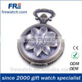 alloy quartz pendant watches with crowm and long chain skeleton round pocket watch with graving logo